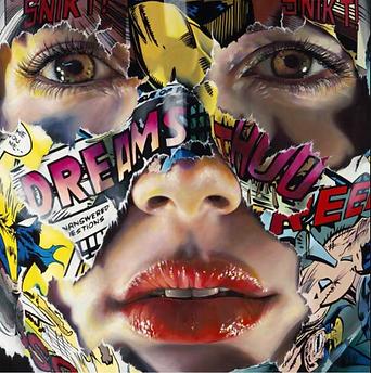 Sandra Chevrier - La cage , toi moi et le rêve- Sandra chevrier artiste - comics - masque - epreuve d'artiste Chevrier - pop art - canada - artiste canadienne- galerie d'art Portugal - Calçada Cem