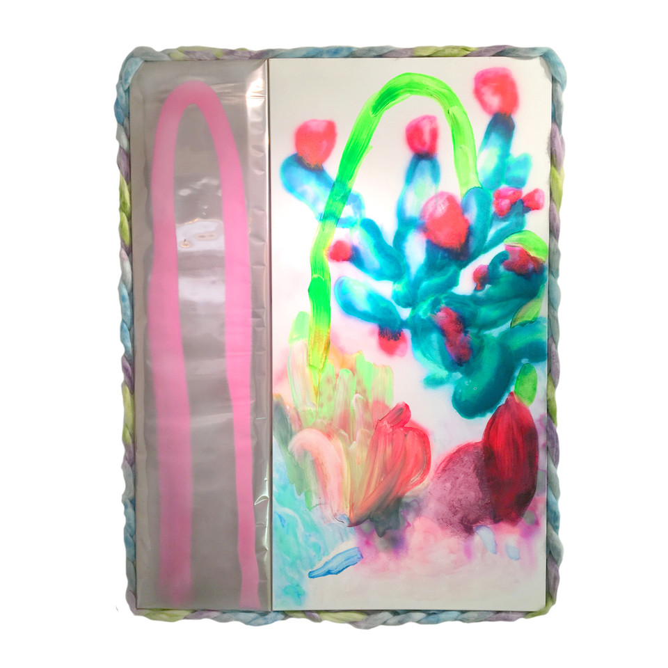 """Hydrates and Softens / 50"""" x 38"""" / 2020 / acrylic, spray paint, ink, metallic paper, foam, poly fiber on canvas"""
