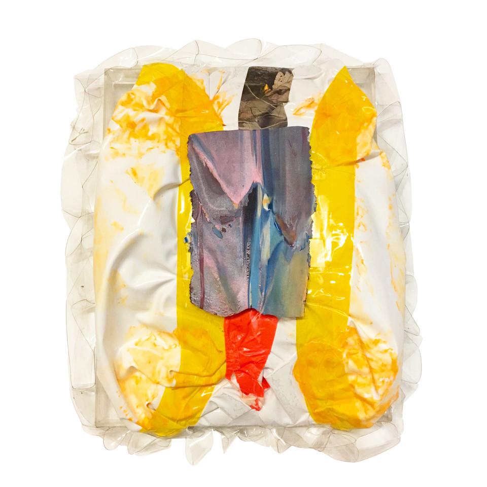 """Hunting aka The Shoot / 12"""" x 16"""" / 2019 / acrylic, vinyl, tape, polyacrylic clay"""