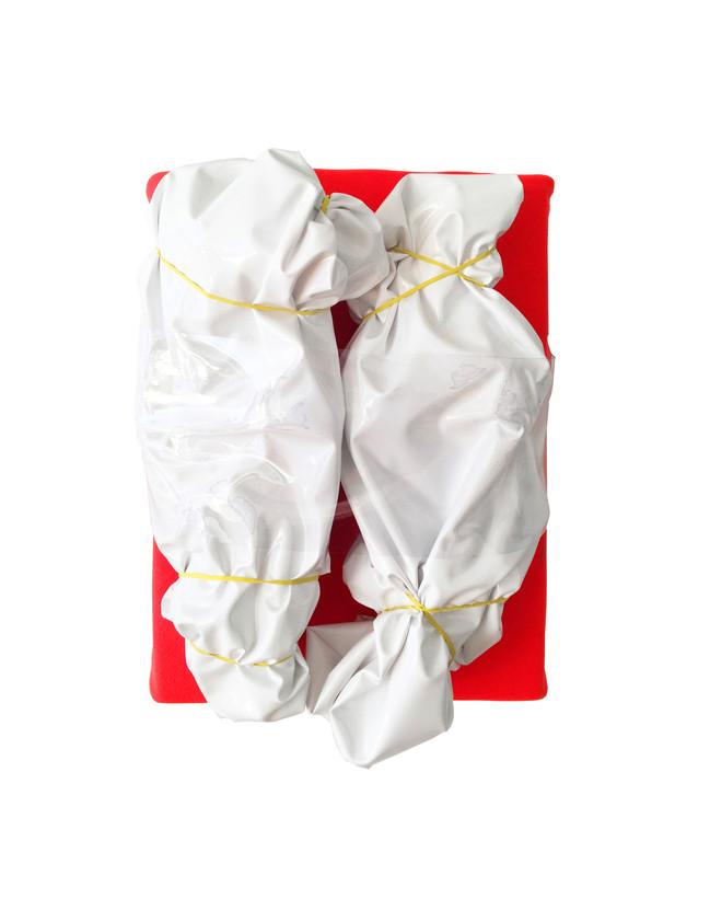 """Emergency Relief (038) / 14"""" x 22"""" / 2020 / vinyl, rubber bands, sweatshirt fleece, foam"""