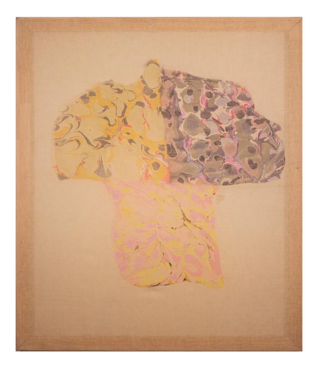 Mushroom II / 36″ x 48″ / 2017 // marbled monoprint on linen