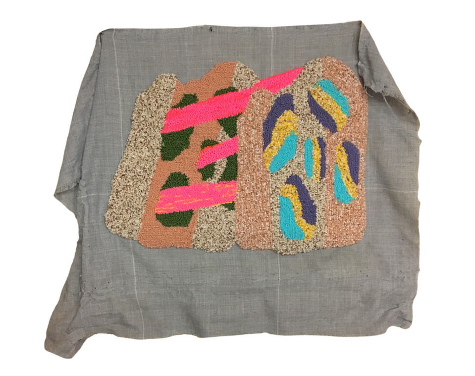 "Poly Synth / 32"" x 28"" / acrylic and nylon on rug tufting cloth"