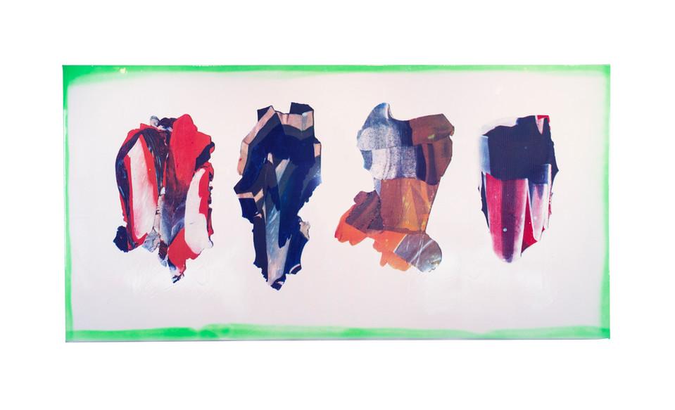 "Polygraph V / 26"" x 52"" / 2018 / acrylic screenprint on vinyl and canvas with spraypaint"