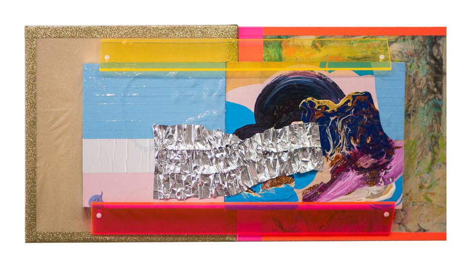 Getaway / 24″ x 12″ / 2018 / acrylic, tape, paper, plexi on marbled wood