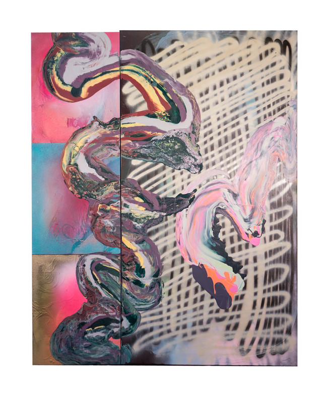 Elevator / 72″ x 54″ / 2018 / Latex and spraypaint on wood and pleather
