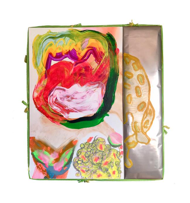 "Gatherer Free Love / 48"" x 60"" x 4"" / 2020 / acrylic, oil, foam, metallic paper, spandex on canvas"