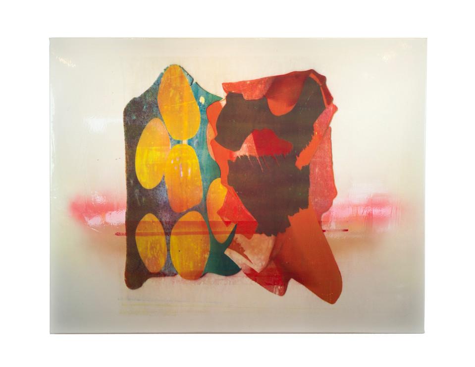 "Polygraph IV / 52"" x 64"" / 2018 / acrylic screenprint on vinyl and canvas with spraypaint"