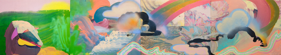 Little Lamb / 120″ x 24″ / 2014 / acrylic, spraypaint, marbled paper on wood
