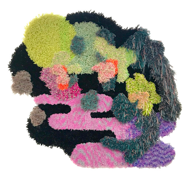 """45"""" x 38"""" x 3"""" / 2021 / Tufted hand dyed wool and nylon on primary rug backing"""
