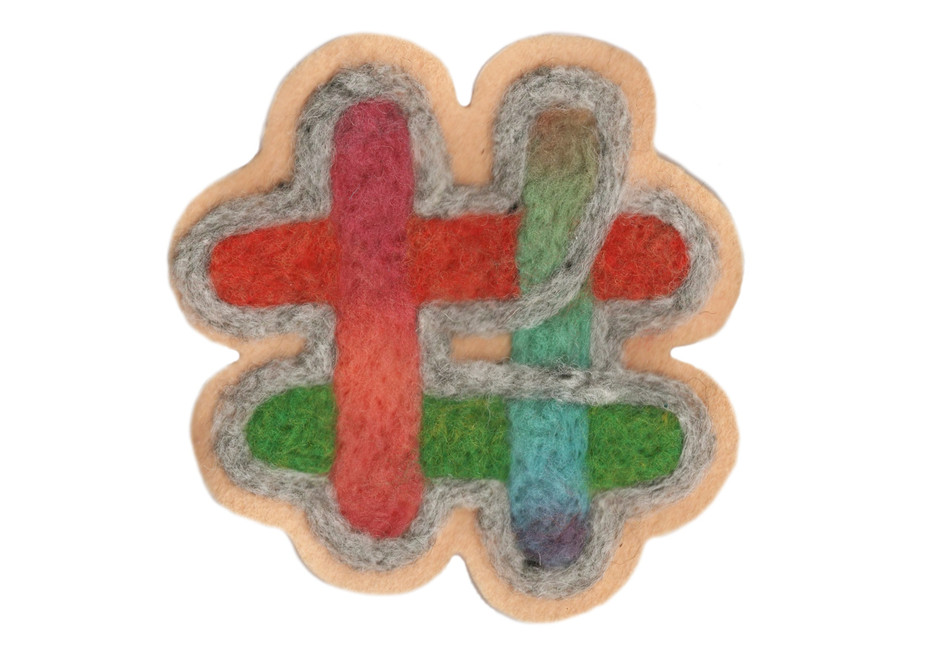 """Hashtag Grey / 4"""" x 4"""" / felted patch"""
