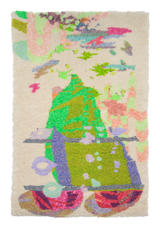 """The Rainbow Connection / 90"""" x 60"""" x 1.5"""" / 2020 / Tufted hand dyed wool, nylon, and gold thread on primary rug backing"""