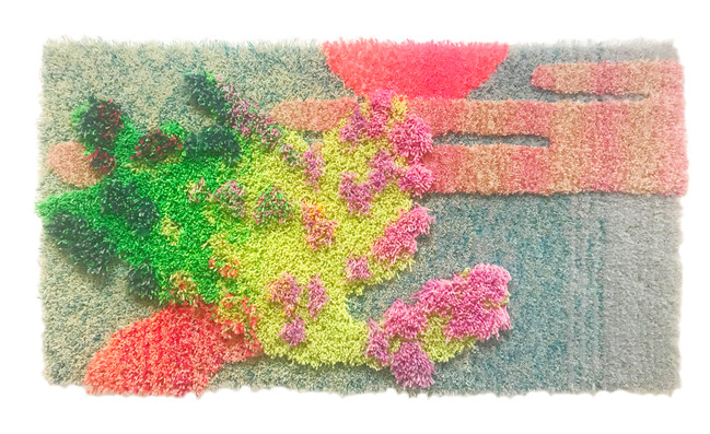 """25"""" x 50"""" x 3"""" / 2021 / Tufted hand dyed wool and nylon on primary rug backing"""