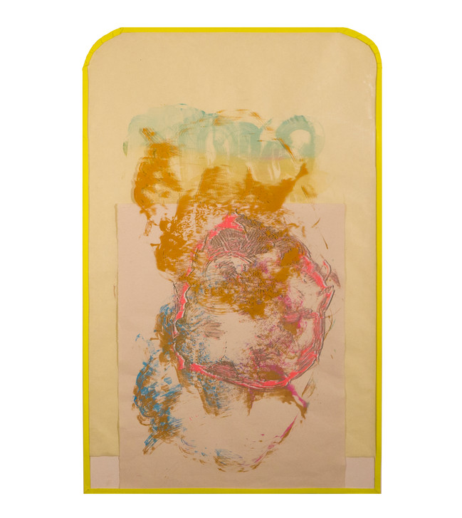 Yellow Tape II / 24″ x 32″ / 2017 // screenprint on paper and acetate, tape