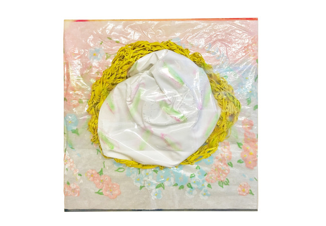"Organic Gluten Free / 20"" x 20"" / 2020 / acrylic, vinyl, fabric, rubber bands on wood"