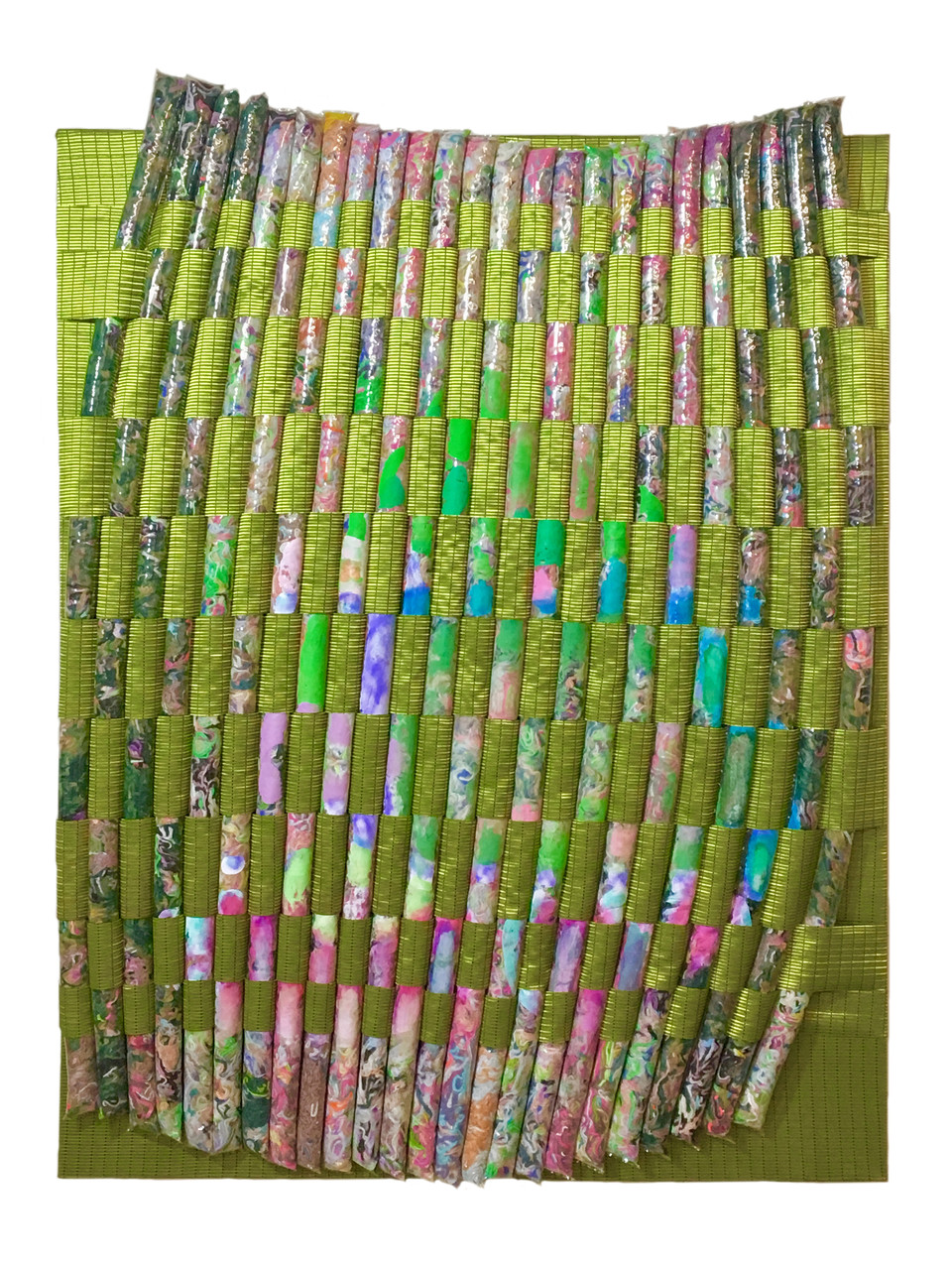 "Pulse Lock / 52"" x 38"" / 2020 / Acrylic, vinyl, yarn, fabric on canvas"