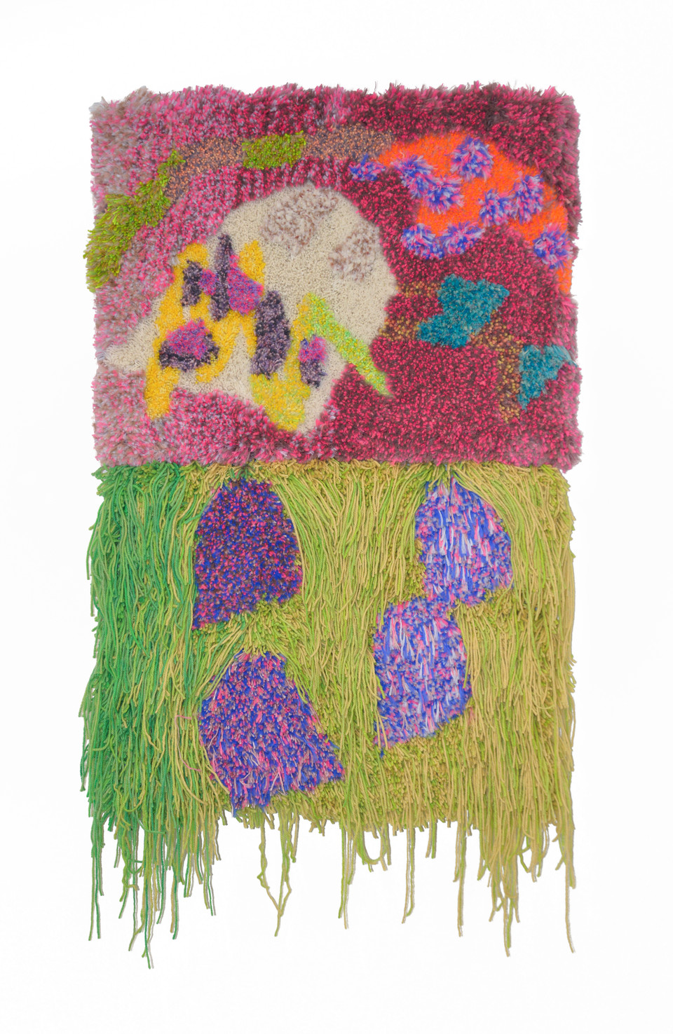 """Have you heard voices / 48"""" x 30"""" x 4"""" / 2020/ Tufted hand dyed wool, nylon, and gold thread on primary rug backing"""