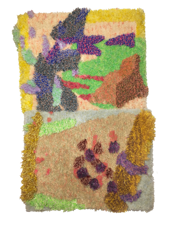 """Have X Will Travel / 30"""" x 48"""" / 2020 / Hand dyed wool and nylon on primary rug backing and wood"""