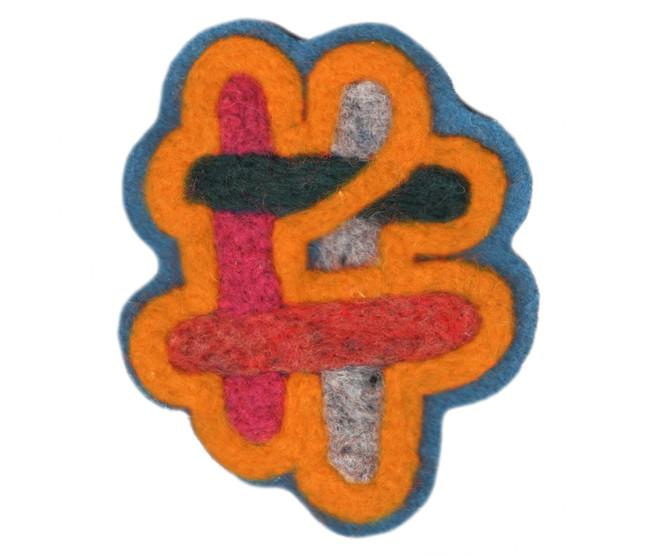 "Hashtag Orange / 4"" x 4"" / felted patch"