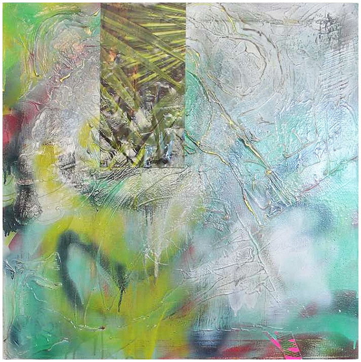 "Elle A / 24"" x 24"" / Acrylic, paper, spraypaint on canvas"