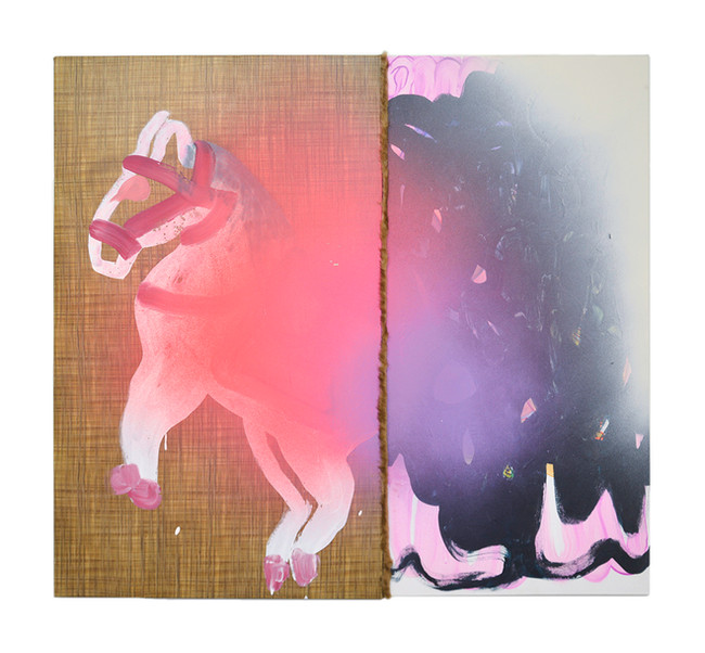 """Someday we'll find it / 48"""" x 44"""" / 2020 / Acrylic, spray paint, fake fur on canvas"""
