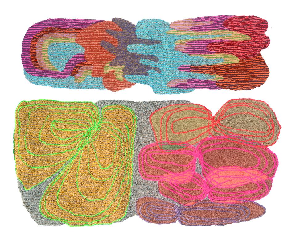 "Bally Broads / 58"" x 78"" / 2019 / acrylic and nylon yarn on primary rug backing"