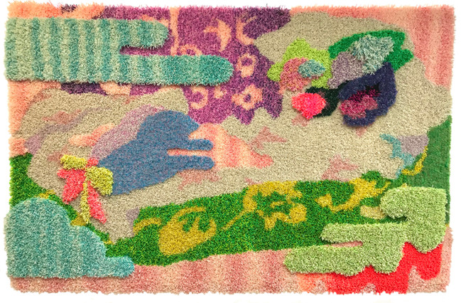 """Psychofauvist / 54"""" x 78"""" x 3"""" / 2021 / Tufted hand dyed wool, nylon, and gold thread on primary rug backing"""