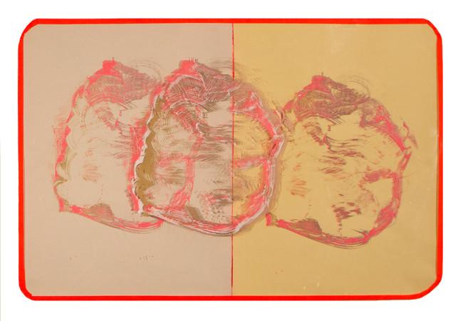 Orange Tape / 36″ x 24″ / 2017 // screenprint on paper and acetate, tape