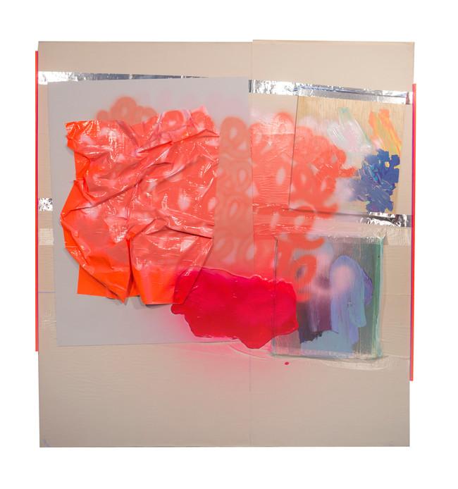 HGTV DIY / 42″ x 46″ / 2018 / acrylic, spraypaint, tape, plexi, paper, wood on canvas