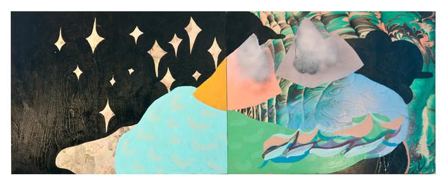 "Drone Dream / 48"" x 24"" / acrylic on marbled monoprint on wood"