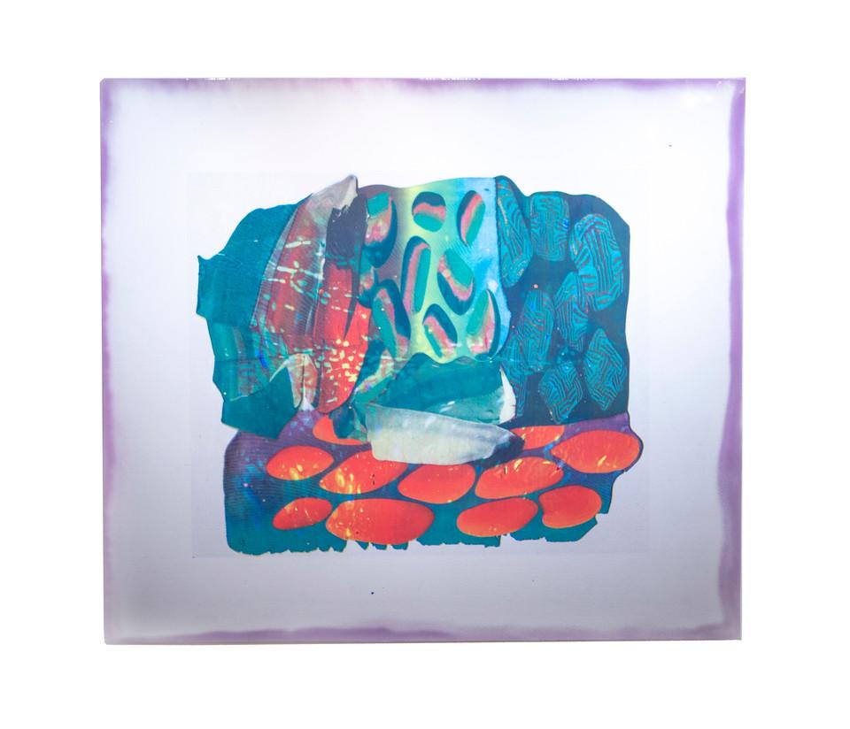 "Polygraph II / 42"" x 48"" / 2018 / acrylic screenprint on vinyl and canvas with spraypaint"