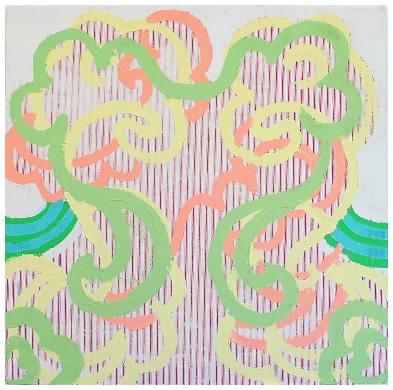 "French Trip / 24"" x 24"" / Acrylic on fabric on wood"