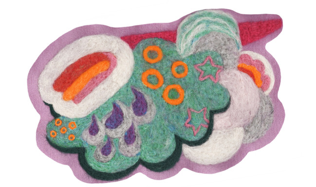 """Cloudy / 12"""" x 8"""" / felted applique"""