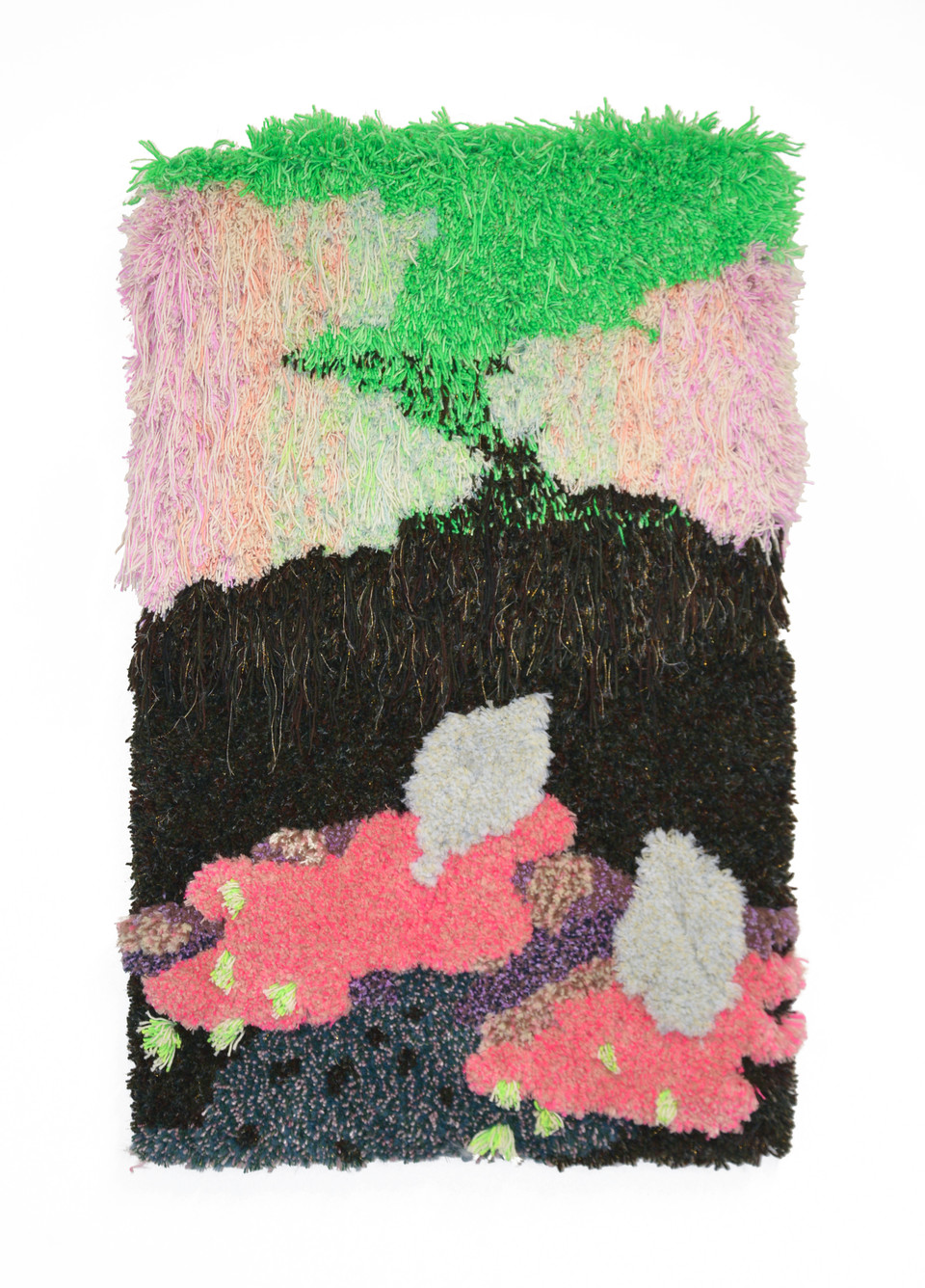 """Have You Been Half Asleep / 48"""" x 30"""" x 4"""" / 2020 / Tufted hand dyed wool, nylon, and gold thread on primary rug backing"""
