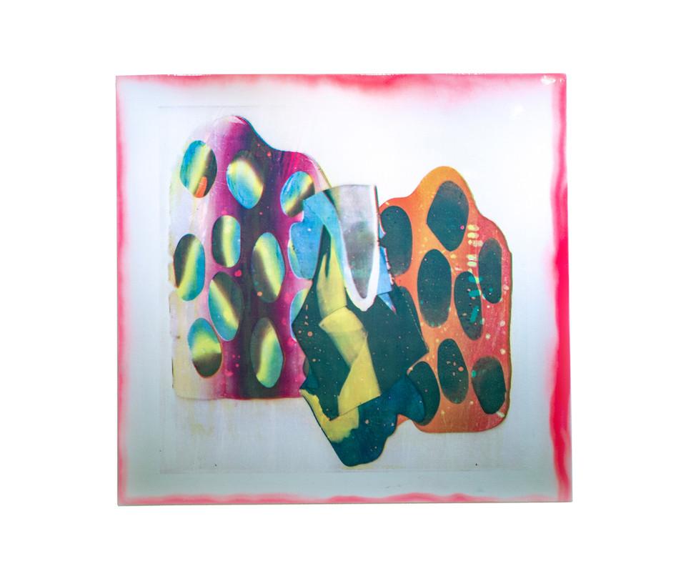 "Polygraph I / 42"" x 42"" / 2018 / acrylic screenprint on vinyl and canvas with spraypaint"