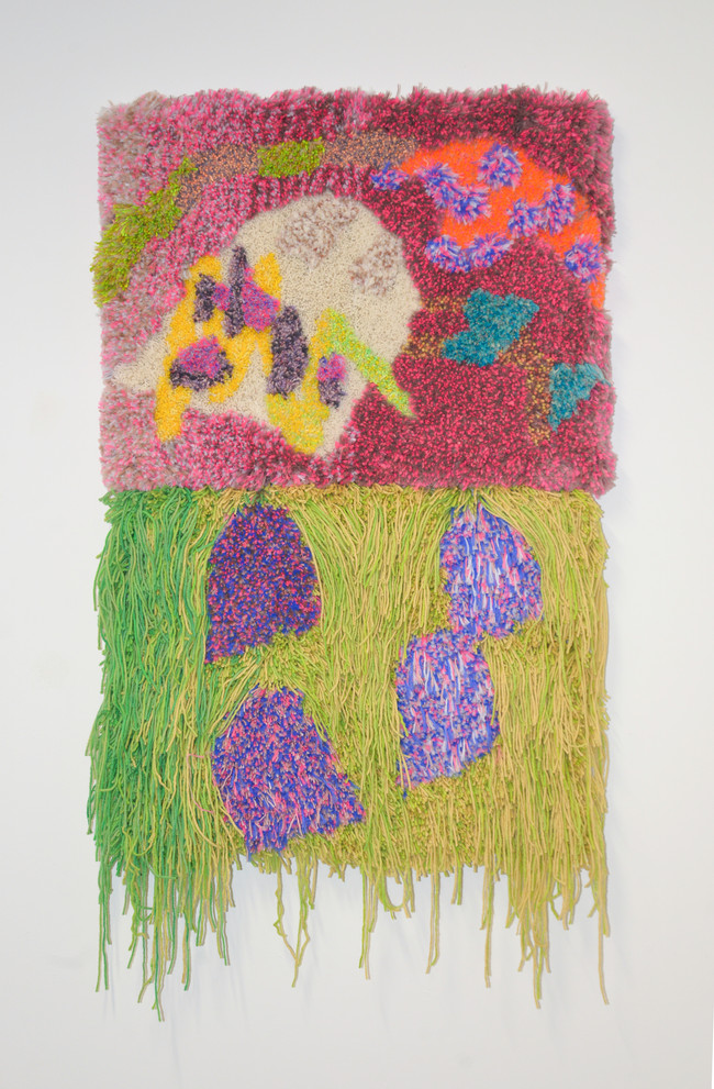 """Have you heard voices / 2020 / 32"""" x 48"""" x 4"""" / Tufted hand dyed wool, nylon, and gold thread on primary rug backing"""