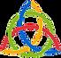 cerchio verde intrecciato con un nodo continuo di colore rosso, giallo e blu