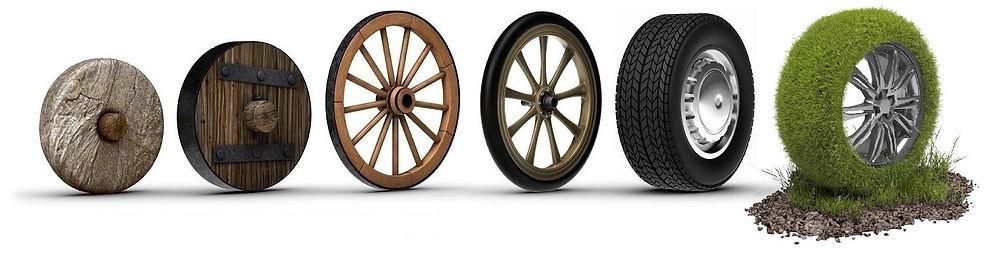 sei ruote che mostrano una evoluzione dalla ruota in pietra fino alla ruota in erba a simboleggiare una evoluzione sostenibile