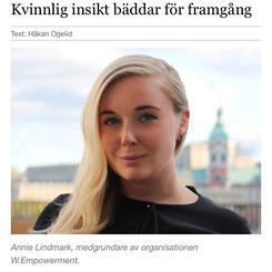 Intervju med Annie i tidningen Framtidens Karriär