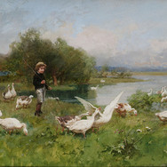 Young Boy Tending Geese