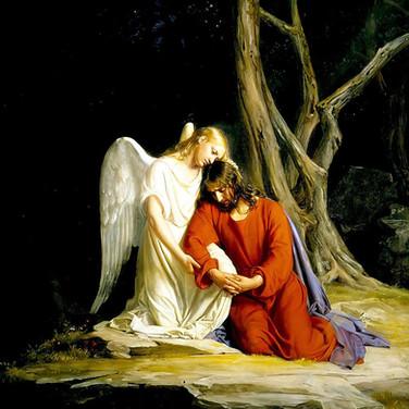An Angel Comfortin Jesus in the Garden of Gethsemane