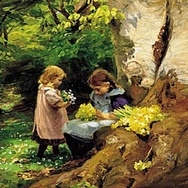 Girls Picking Anemones and Primulas