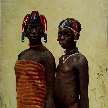 Yakoma Children with Pearl Head-Dress