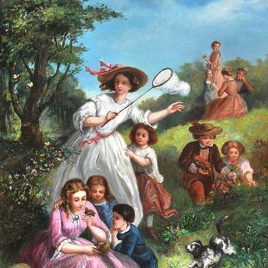 A Garden Scene with Children Netting Butterflies
