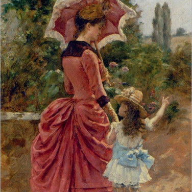 Girl and Woman with Umbrella