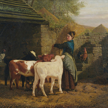 Peasant Woman with Three Calves