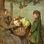 Grandmother and Granddaughter with a Vegetable Basket