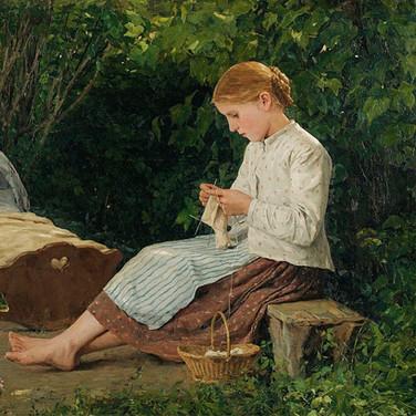 Knitting Girl Watching the Toddler