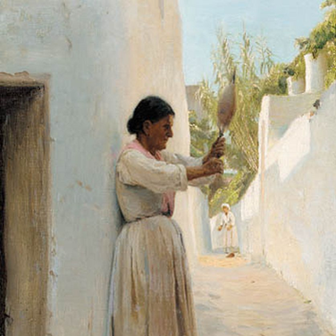 Italian Streetview with Woman Holding a Distaff