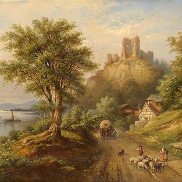 Lake Landscape with Castle Ruins