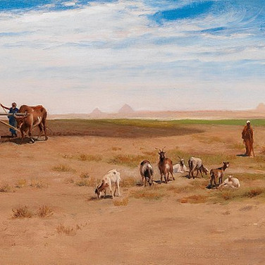 Goatherd and Labourer Near the Pyramids at Giza